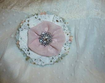Fabric Brooch with Fabric's, Lace and Rhinestone Centerpiece