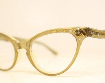 Brown Rhinestone Cat Eye Eyeglasses Vintage Eyewear Retro Glasses Cat Eye Frames