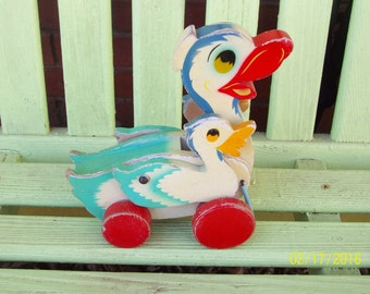 Vintage Wood and Metal Rolling Duck