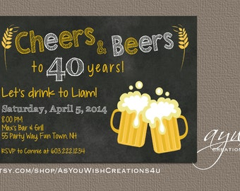 40th Birthday Party Invitations for Men, Chalkboard Invitation,  Cheers and Beers Birthday Invitation Cards, Birthday Printable Invitations