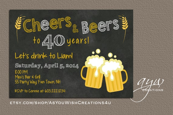 40th birthday party invitation cheers and beers birthday like this item stopboris Images