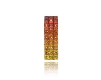 Multicolor Sunset Sapphire Curved Rectangle Pendant 18K Gold (2.51ct tw) SKU: 17529 + 24733 + 25463