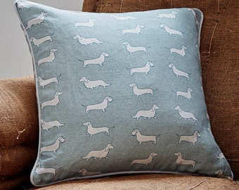 Green Dachshund Cushion, Dachshund Fabric, Sausage Dog Design, Dax Present, Doxxie Gift.
