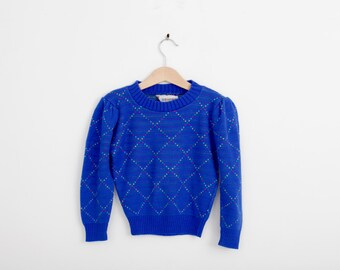 Vintage Crew Neck Knit Sweater with Argyle Pattern in Royal  Blue