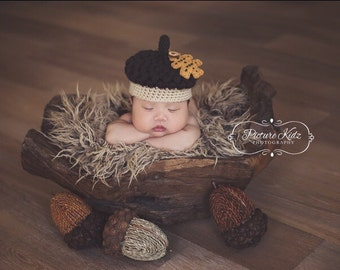 Ready to ship - Little Acorn Crochet Hat - Photo Prop - Acorn hat - Acorn hat prop - 0-3 months RTS - acorn - Acorn beanie - fall hat