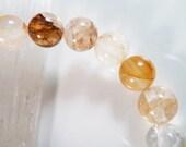 Yellow Hematoid Quartz Crystal Stretch Bracelet 8mm Golden Round Gemstone Beads Iron Hematite