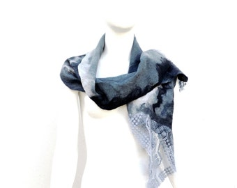 Grey Merino Silk Scarf