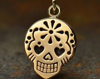 Natural Bronze Mexican Sugar Skull Charm