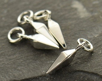 1x~Sterling Silver Small Spike Dangle