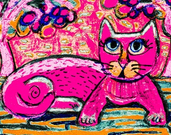 Pink Cat Print, Whimsical Cat Art, Teen Decor, Pink And Blue, Pink Wall Art, Cat Art, Nursery Decor, Pretty In Pink by Paula DiLeo_102915