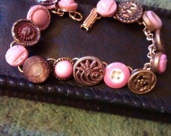 Unique Antique Pink Themed Vintage Button Linked Bracelet