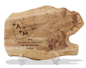 Engraved Fir Wood Plaque for Two