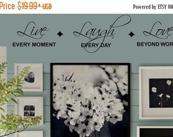 SALE LIVE every moment LAUGH everyday Love beyond words Family Vinyl Wall Lettering Decal Large Size Options Home Decor Decals