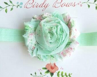 Mint Floral Headband, Baby Headbands, Infant Headbands, Baby Bows, Baby Girl Headbands, Infant Bows, Newborn Headbands
