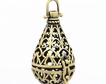 2PC fancy antique bronze metal prayer box pendant-6168A