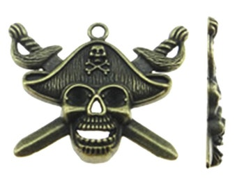 3 Pirate pendants 45 x 34mm antique bronze tone-7556c