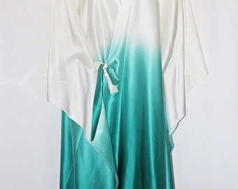 Pure Silk Satin Hombre Cream to Teal Crossover Wrap Dress Kaftan by LaMolli