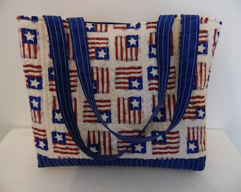 Cruise Tote, Vacation Tote, Quilted Patriotic Tote Bag with American Flag, Poolside Tote, Kntting and Crochet Craft Carry All