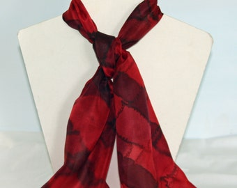 Hand Dyed RedTartan Long Silk Scarf