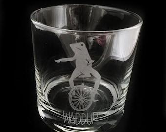 Dat Boi Etched Glass Lowball Rocks Whiskey Meme Waddup