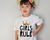 Girls Rule Gold Crown Baby Bodysuit and Youth T Shirts