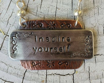 SALE Necklace Inspire Yourself Hand Stamped Sterling and Copper Necklace