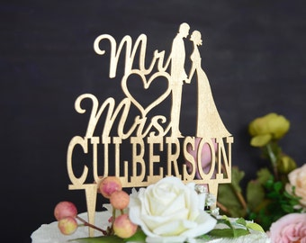 Wedding Cake Topper, Rustic Wood Mr and Mrs Cake Topper, Cake Topper with YOUR Last Name 047