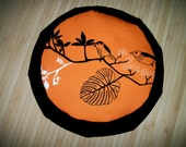 "Meditation Cushion. Zafu. Orange Birds with Black Blend Twill. Buckwheat Hulls.  15"" x 5"" 6"" L. sidewall zipper. Handmade, U.S.A."