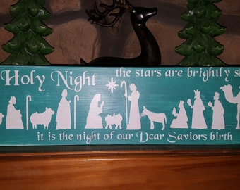 Christmas Nativity on Wooden Sign Wall Decor, O Holy Night