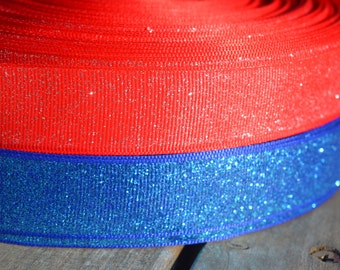 """BLUE Or RED With GLITTER ribbon.7/8"""" grosgrain ribbon sold by the yard. Perfect compliment to any bow"""