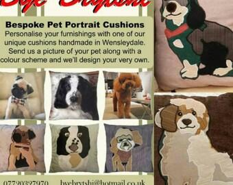 "Handmade Custom Personalised Animal Portrait Cushion Dog Cat Pet 18""x18"" 45x45cm Bye Brytshi"