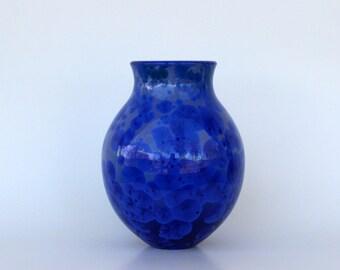 Cobalt Crystalline Flower Vase