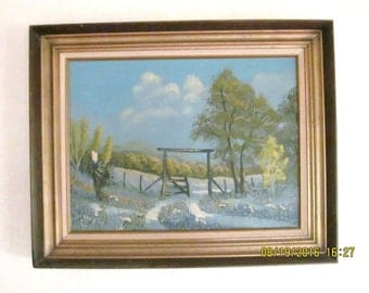 "Vintage 24"" x 30"" - Ina D. Signed Folk Art Oil Painting on Board Canvas Western Scene Blue Bonnets & Mountains"