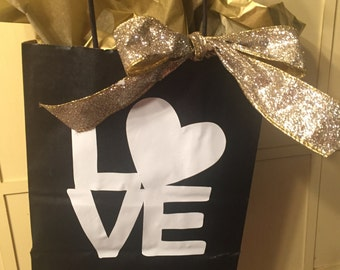 Tuxes and Gold. Black, white and gold gift bags. Decorative and personalized Wedding Gift Bags
