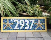 Address Sign in Tropical Colors, Starfish / Beach Theme