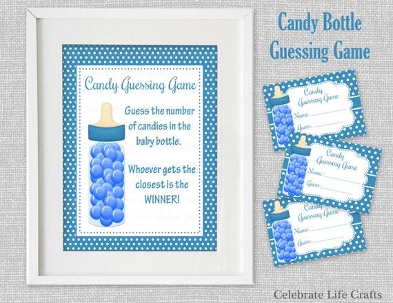 baby shower printable game candy bottle guessing game sign. Black Bedroom Furniture Sets. Home Design Ideas