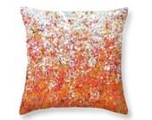 Colorful Orange Pillow, Abstract Art Decorative Pillow, Autumn Home Decor, Pumpkin Seeds Accent Pillow, Throw Pillow, Modern Fall Decor