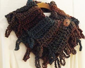 Loopy Fringe Button Cowl Brown Turquoise Blue Rust Crochet Neckwarmer Scarflette Scarf