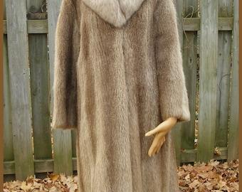 Vintage Smokey Brown Gray Muskrat And Fox Fur Coat