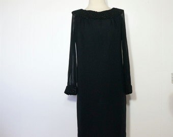 Black Vintage Cocktail Dress SMALL Classic 1960s LBD Shift Crochet Tinsel Collar & Cuffs w/ Sparkle Clingy Sheer Sleeves Little Black Dress