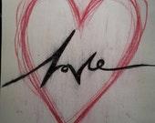 Love in Heart Origanal Artwork Ink Paint on Paper