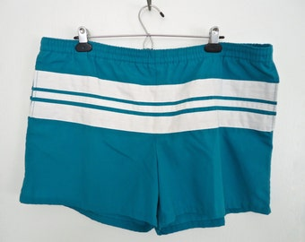 1980s Jantzen Stripe Swim Trunks / vintage teal green & white striped swimsuit, board shorts  / men's large-XL