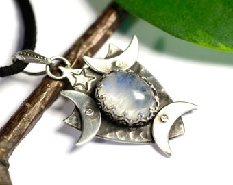Three goddess, pendant, 925 Silver u Moonstone