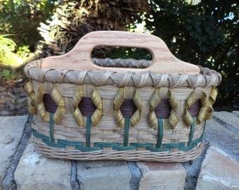 Sunflower Napkin Basket Kitchen Basket Sunflower Basket Divided Basket Handwoven Basket