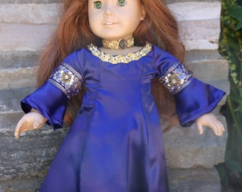 Long purple princess dress with tiara and choker necklace for popular 18 inch Dolls, made  by Project Funway on Etsy