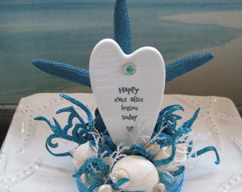 Seashell Beach Wedding Cake Topper~Starfish~Happy Ever After Begins Today Cake Topper~Wedding Cake Topper