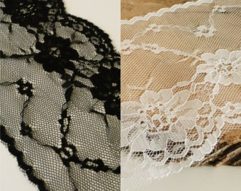 Black or White soft delicate fine lace edge trim - 80mm wide  - sold by the metre UK SELLER