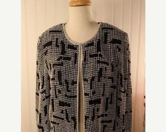 SALE 50% OFF Vintage 80s Black White Beaded Silk Papell Boutique Evening Jacket  Sz L