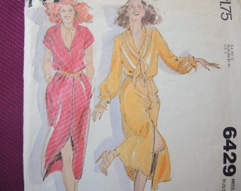 vintage 1970s McCalls sewing pattern 6429 misses dress size 6