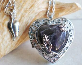 Amethyst Quartz music box locket, Music box locket, Music box pendant, Silver locket, Heart shaped locket, Music Box necklace, Photo locket